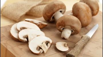 Fresh sliced brown mushrooms close up
