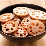 A bowl of raw lotus root