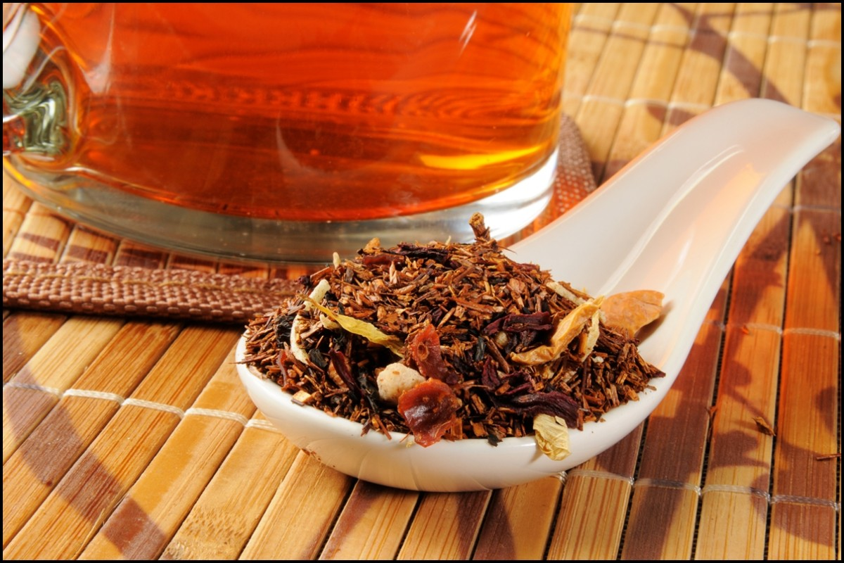 A cup of honey spice hot rooibos tea