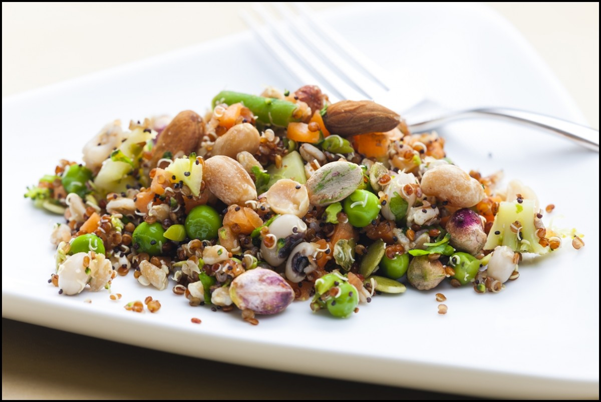 A healthy dish - legume salad with almonds