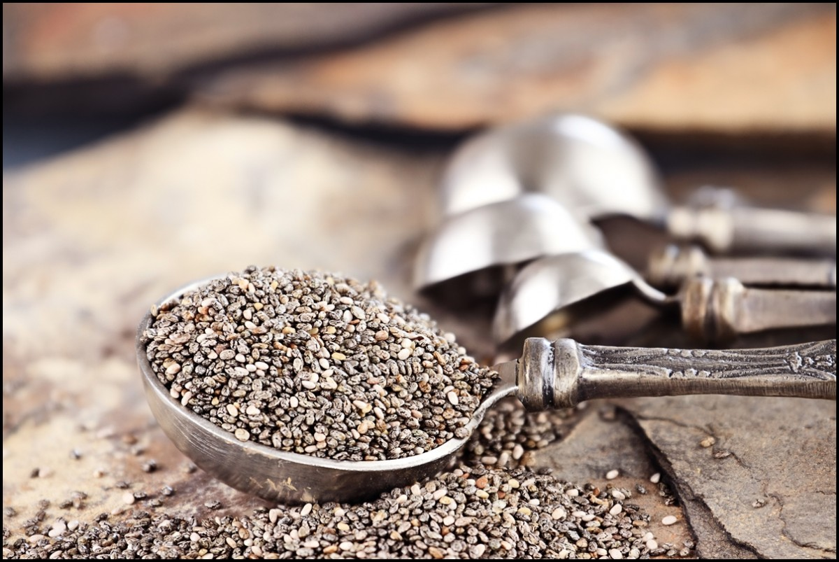 A small tablespoon of healthy chia seeds