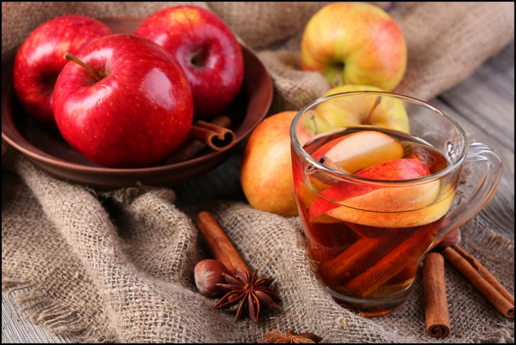 Apple cider with cinnamon sticks, spices and fresh apples