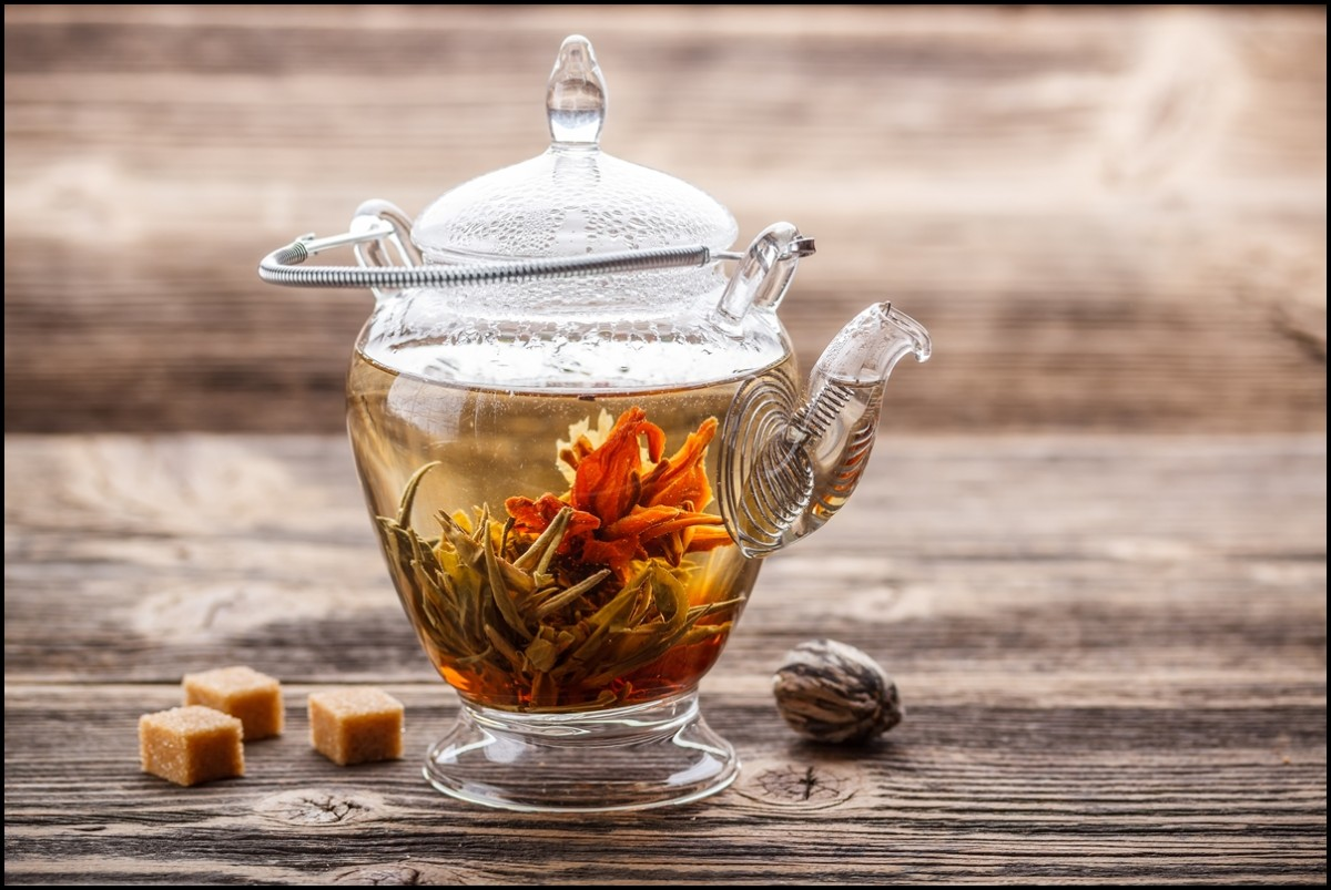 Blooming flower tea in glass teapot