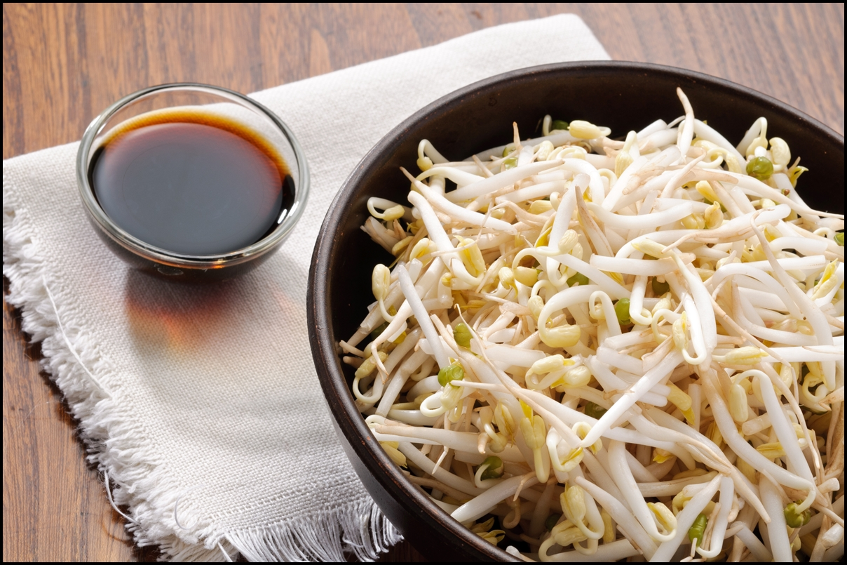 Bowl of bean sprouts with soy sauce
