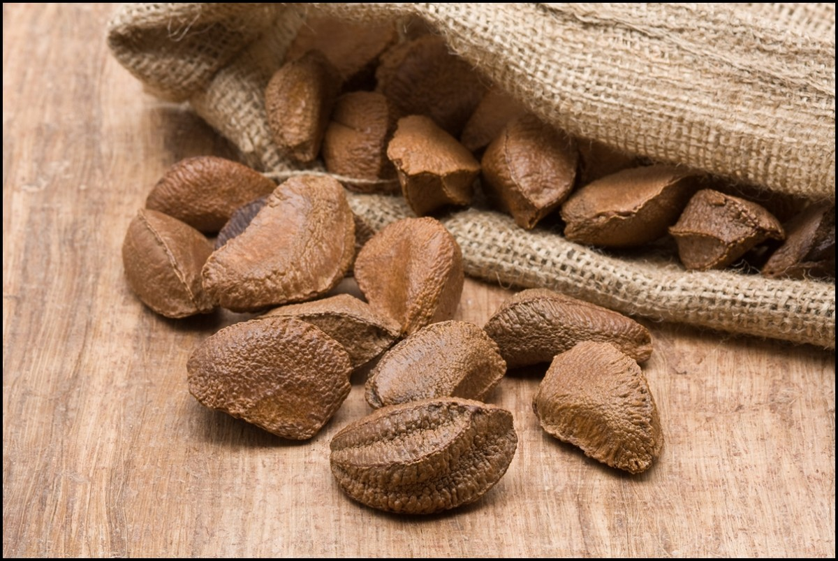 Brazil nuts in burlap sack on wooden table