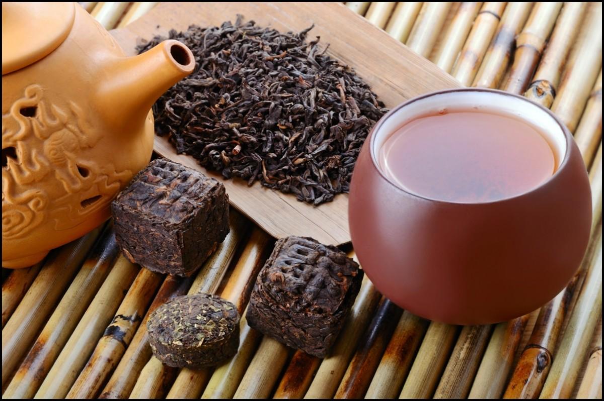 Chinese black pu-erh tea and tea leaves