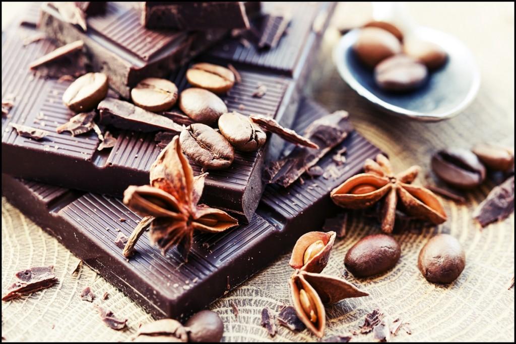 Chocolate pieces. Chopped dark chocolate