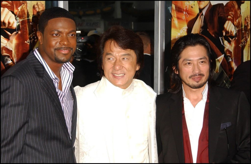 Chris Tucker with Jackie Chan and Hiroyuki Sanada at the Los Angeles Premiere of Rush Hour 3
