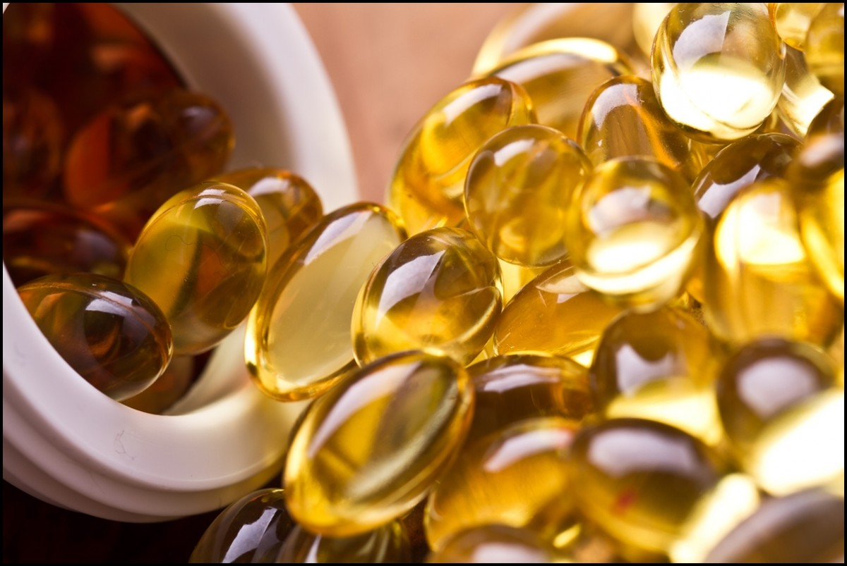 Cod liver oil omega 3 gel capsules close up