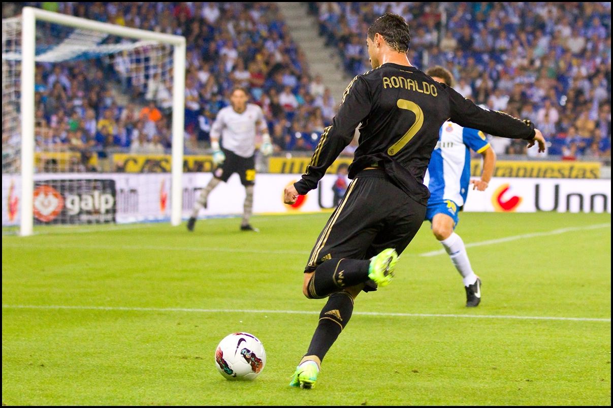 Cristiano Ronaldo in action during the Spanish League match between RCD Espanyol and Real Madrid, on 2 October, 2011 in Cornella stadium, Barcelona, Spain.