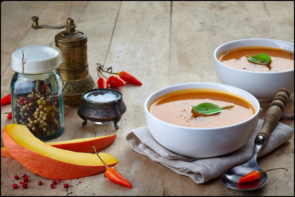 Delicious butternut squash soups with spices