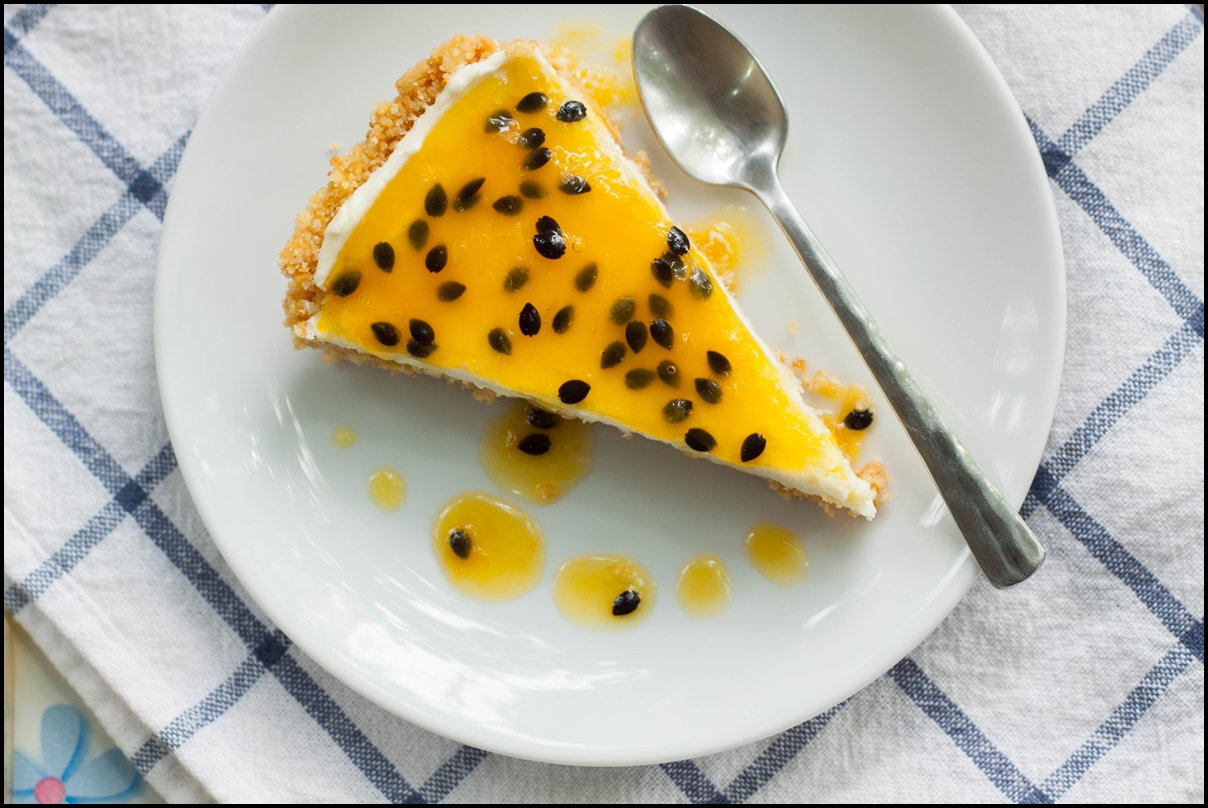 Delicious passion fruit pie with cream