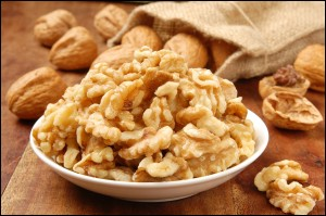 Delicious walnut kernel in a white bowl