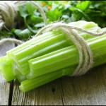 Fresh celery sticks close up