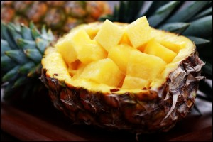 Fresh pineapple ready to be served