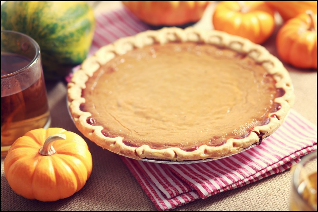 Freshly baked pumpkin pie with small pumpkins around