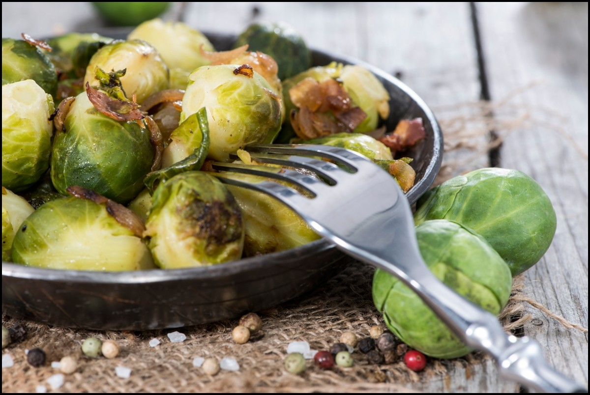 Fried Brussel Sprouts with Ham and Onions - the health benefits of Brussel Sprouts