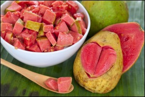 Guava fruit salad and halves pink guava with carved heart