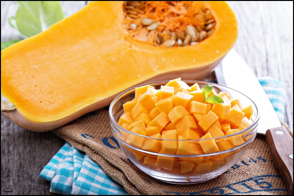 Halfed and diced butternut squash - The health benefits of butternut squash