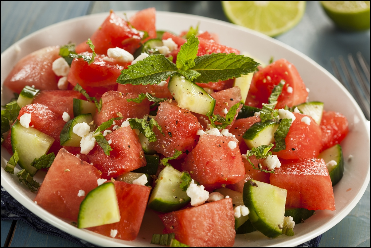 Healthy Organic Watermelon Salad with Mint, Feta, and Cucumber