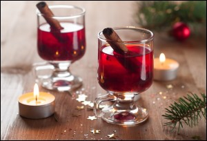 Hot tea or mulled wine with cinnamon stick