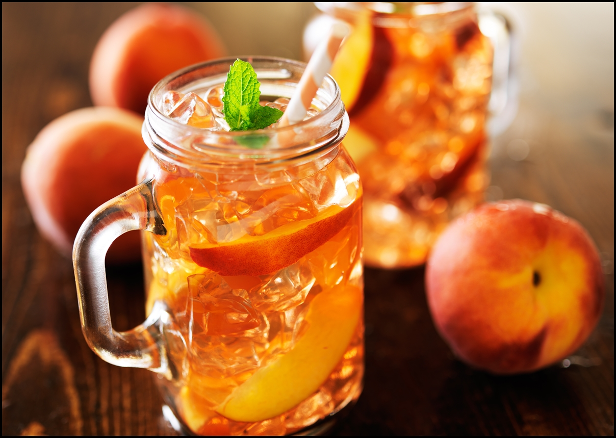 Jar of ice cold Peach Tea