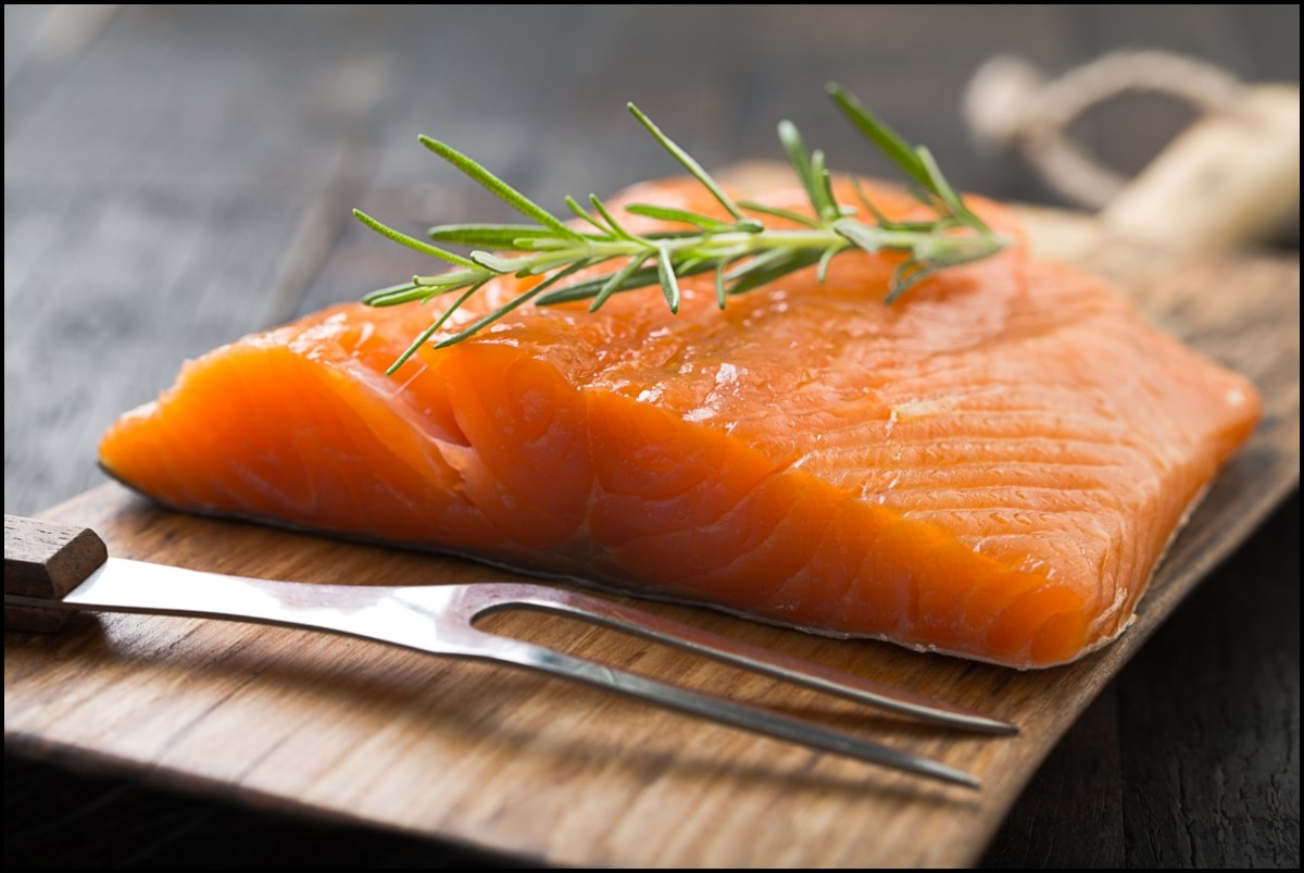 Juicy smoked salmon