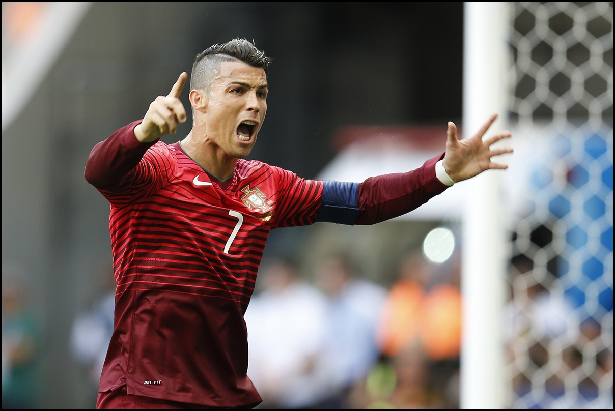June 26, 2014. World Cup Match Between Portugal and Ghana. Cristiano Ronaldo celebrates after scoring a goal at Estadio Mane Garrincha
