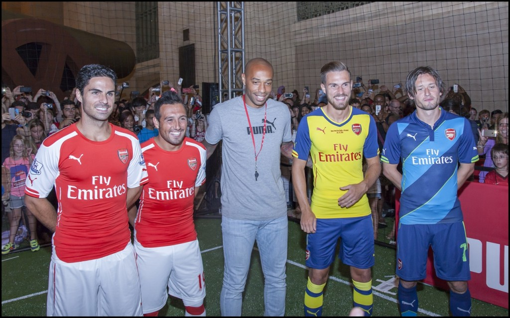 Mikel Arteta, Santi Cazorla, Thierry Henry, Aaron Ramsey and Tomas Rosicky greet fans at PUMA partners with Arsenal in New York City on July 25, 2014
