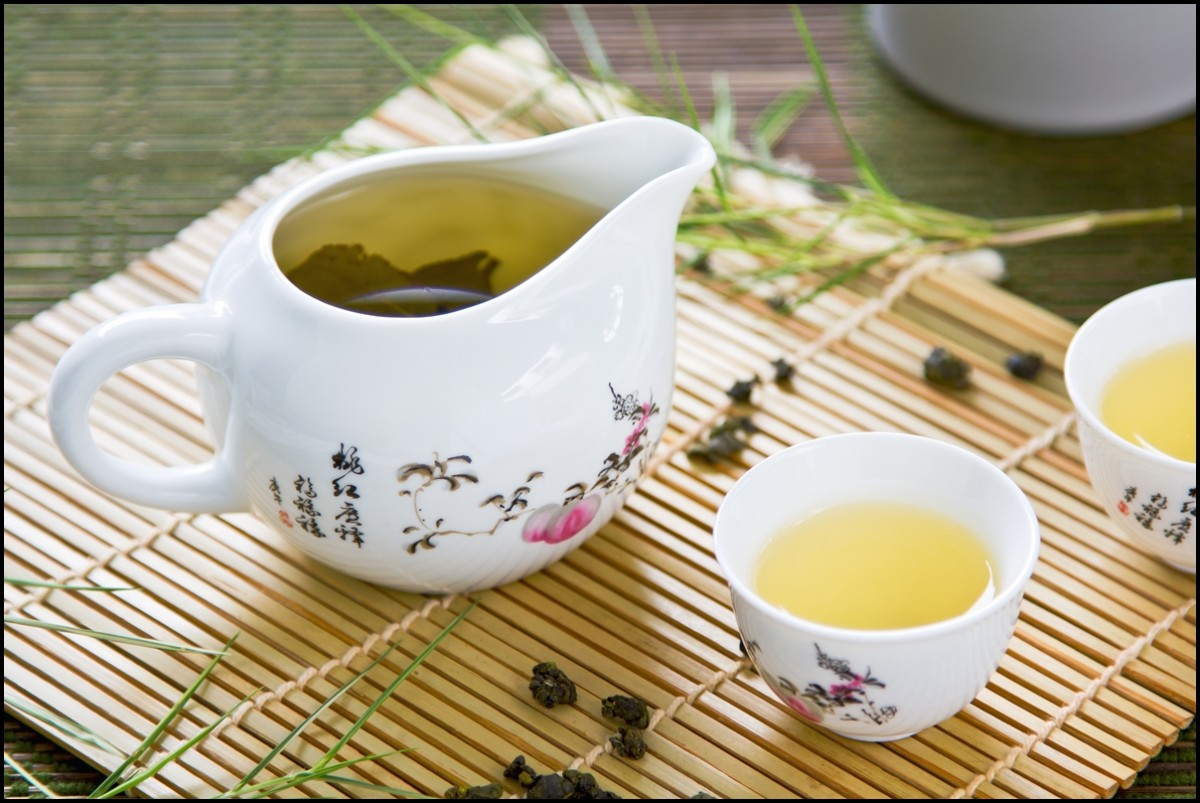 Oolong Tea in traditional Chinese tea pot and cups