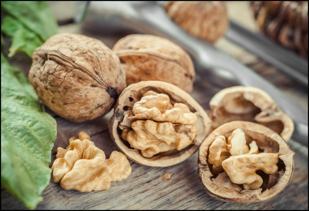 Open walnut close up, nutcracker and basket on background
