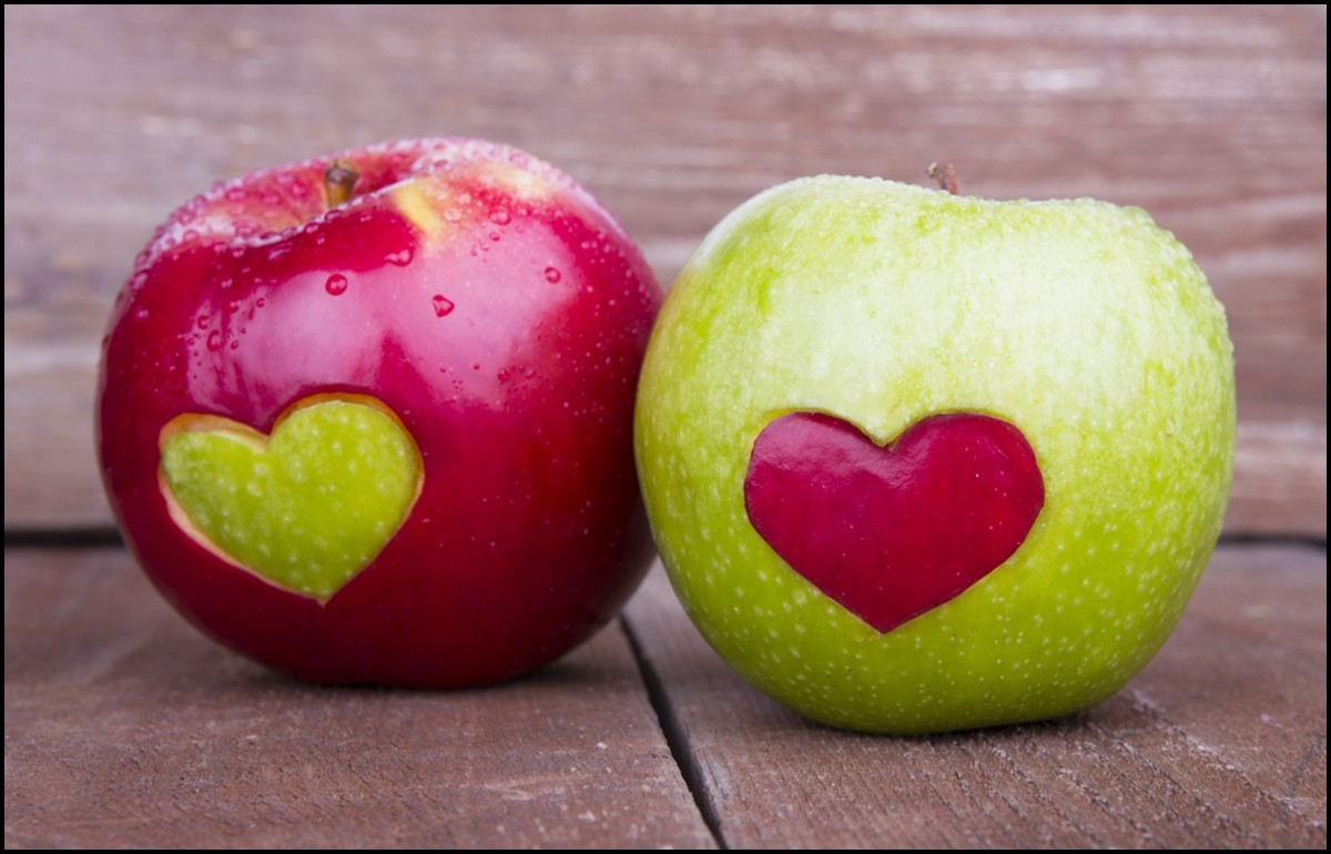 Red and Green Apples with Heart Shape