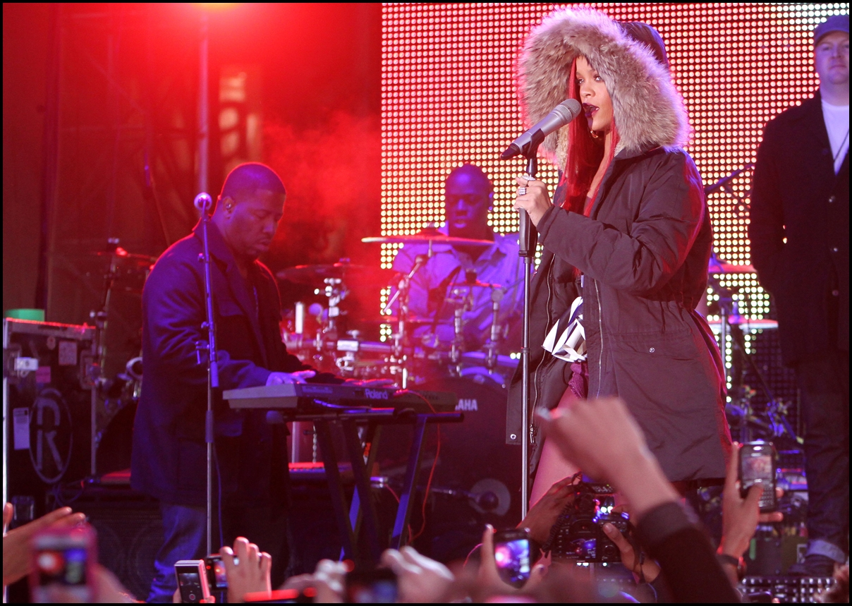Rihanna performs in Times Square on November 15, 2010 in New York City.