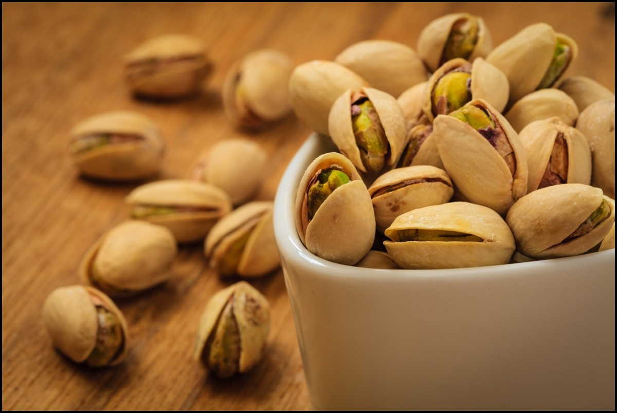 Roasted pistachio nuts seed with shell close up