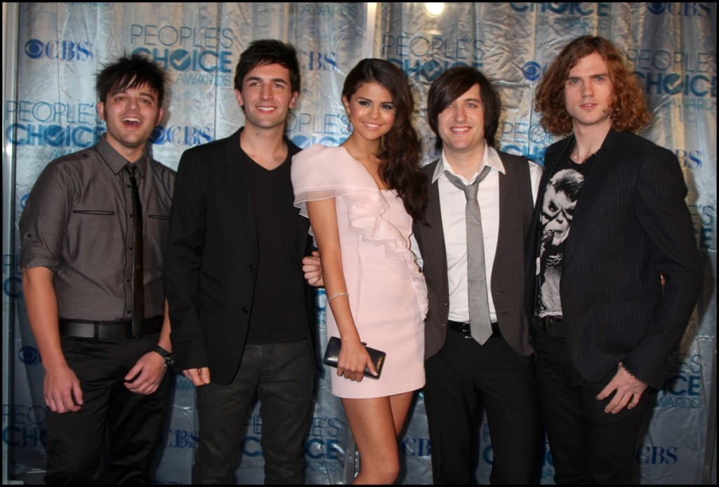 Selena Gomez & The Source (Her band) arrives at 2011 People's Choice Awards at Nokia Theater at LA Live on January 5, 2011 in Los Angeles, CA