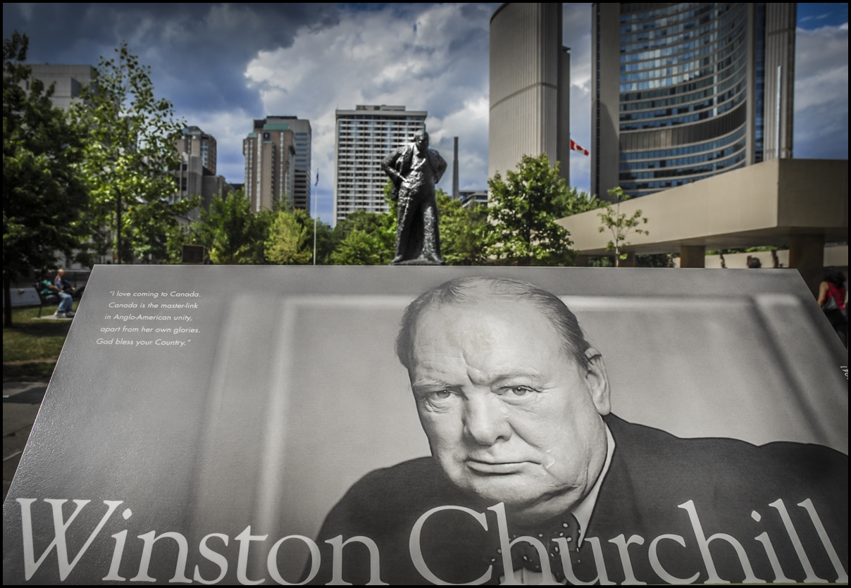 Sir Winston Churchill Memorial in Toronto, Canada with his statue in the background.