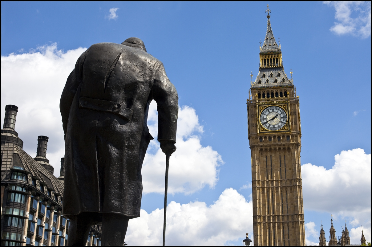 Statue of Sir Winston Churchill facing the Houses of Parliament in London.