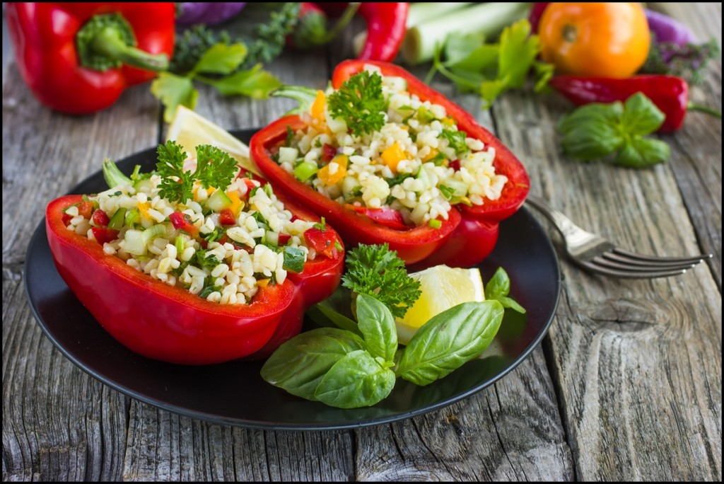 Stuffed peppers with bulgur and vegetables. A delicious, healthy and filling meal