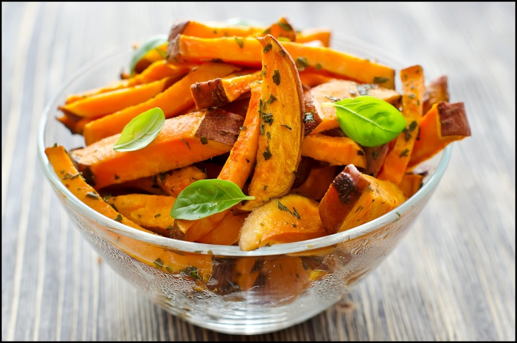 Sweet potato salad with spices and herbs