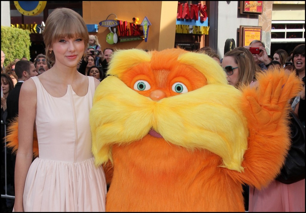 Taylor Swift and Lorax at the Dr. Seuss The Lorax Premiere, Universal Studios, Universal City, 2012