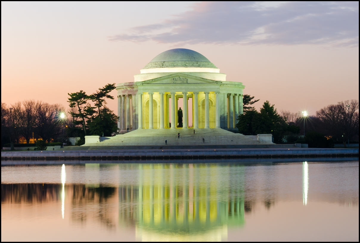 Thomas Jefferson Memorial silhouette at sunrise, Washington DC - United States
