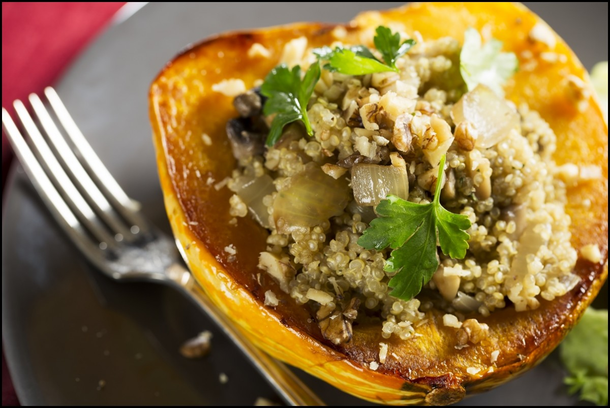 Winter Squash stuffed with quinoa, mushrooms and onions.