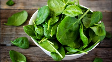 spinach in the bowl on the dark wood background