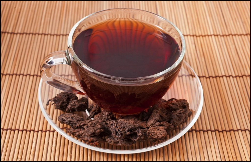 A cup of hot chinese pu-erh tea