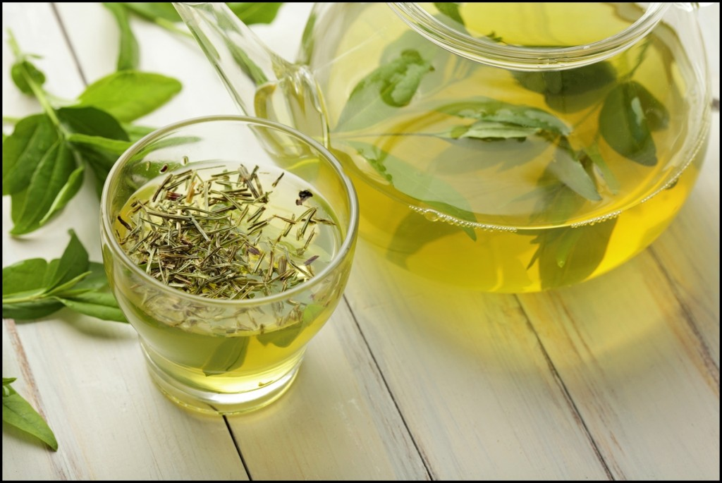 healthy and organic green tea with tea leaves